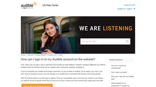 How can I sign in to my Audible account on the website?