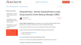 ShadowProtect - Monitor ShadowProtect Locally Using Axcient's ...
