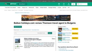 Balkan holidays.com verses Thomson travel agent to Bulgaria ...