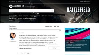 Solved: Battlfield 3 wrong email or password - Answer HQ