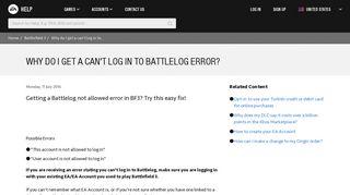 Battlefield 3 - Why do I get a can't log in to Battlelog error? - EA Help