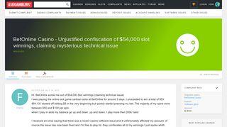 BetOnline Casino - Unjustified confiscation of $54,000 slot winnings ...