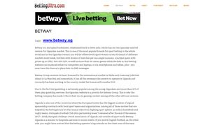 Betway Uganda Mobile Login - Jackpot & Registration - App