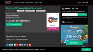 Bingo Liner $30 no deposit bonus for new players - Bonus codes