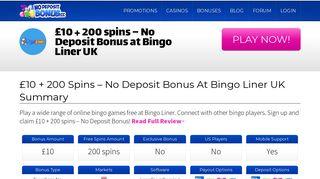 £10 + 200 spins - No Deposit Bonus at Bingo Liner UK | No Deposit ...