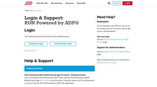 Login & Support | ADP RUN Login for Employees and Administrators