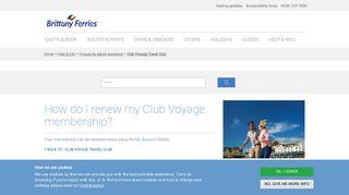 How do I renew my Club Voyage membership? - Brittany Ferries