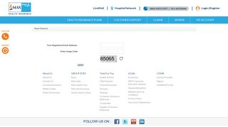 Provide your registered email address for new password - Max Bupa