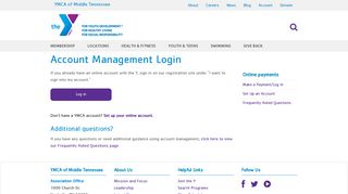 Account Management Login - YMCA of Middle Tennessee