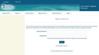 Check Your Account - Lee County Library Catalog