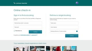 Online Check-In - Cathay Pacific