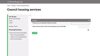 CBL Logon - Thurrock Council Housing Services