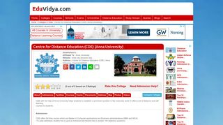 Centre for Distance Education (CDE) (Anna University) , Admissions ...