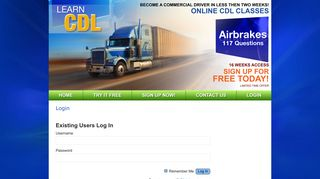 Login | Learn CDL | Become a commercial driver in less than two weeks