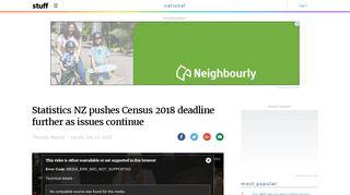 Statistics NZ pushes Census 2018 deadline further as ... - Stuff.co.nz