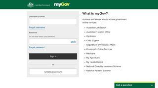 myGov: Sign-in