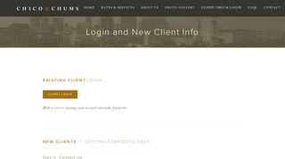CLIENT INFO & LOGIN — Chico & Chums, LLC