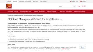 CIBC Cash Management Online   Business Banking   CIBC - CIBC.com