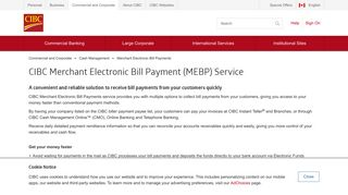 CIBC Merchant Electronic Bill Payment (MEBP) Service for Businesses