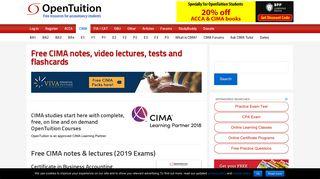 Study CIMA online: Free CIMA Notes, Free CIMA Lectures, CIMA Tests