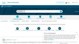 What is the login and password default ... - Cisco Community