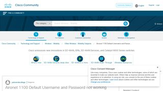 Aironet 1100 Default Username and Passw... - Cisco Community