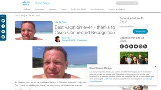 Best vacation ever – thanks to Cisco Connected Recognition
