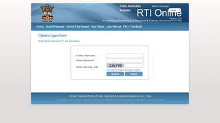 RTI Online :: Citizen Login Form