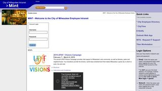 MINT - Welcome to the City of Milwaukee Employee Intranet