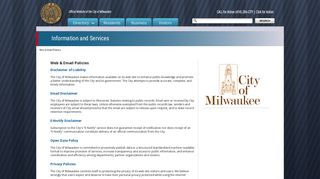 Web & Email Policies - City of Milwaukee - Milwaukee.gov