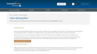 Claim Missing Miles | ConnectMiles | Copa Airlines