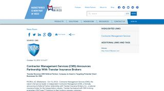 Contractor Management Services (CMS) Announces Partnership With ...