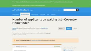 Number of applicants on waiting list - Coventry Homefinder - a ...
