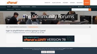 login to phpMYAdmin without going to Cpanel | cPanel Forums
