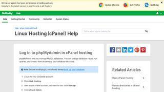 Log in to phpMyAdmin in cPanel hosting | Linux Hosting (cPanel ...