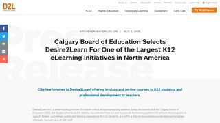 Calgary Board of Education Selects Desire2Learn For One of the ...