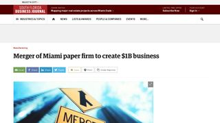 Dade Paper & Bag Co. merges with Imperial Paper Co. - South Florida ...