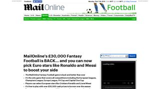 MailOnline's £30,000 Fantasy Football is BACK! | Daily Mail Online