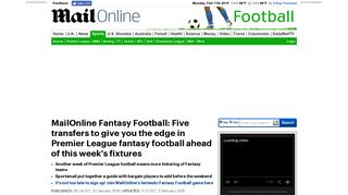 MailOnline Fantasy Football: 5 players to give you an edge | Daily Mail ...