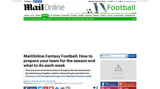 How to prepare team for MailOnline Fantasy Football | Daily Mail Online