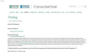 Printing - Service Desk Portal - DC-UOIT