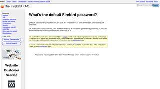 What's the default Firebird password? - The Firebird FAQ
