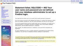 Statement failed, SQLCODE = -902 Your user ... - The Firebird FAQ