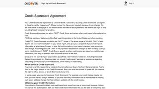 Terms & Conditions - Discover Credit Scorecard