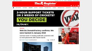 Web biz DomainFactory confirms: We were hacked in January 2018 ...