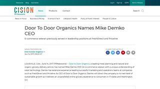 Door To Door Organics Names Mike Demko CEO - PR Newswire