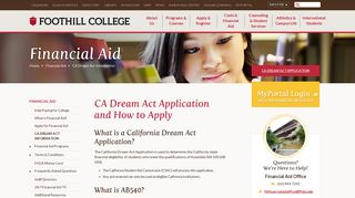 CA Dream Act Information - Foothill College