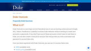 Duke OneLink - Duke Alumni Association - Duke University