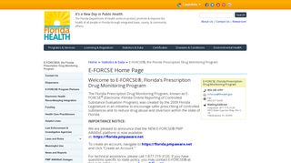 E-FORCSE Home Page | Florida Department of Health