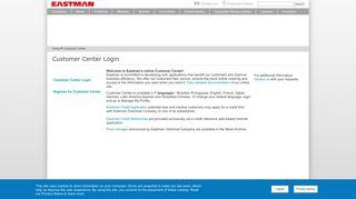 Customer Center Registration | Eastman Chemical Company